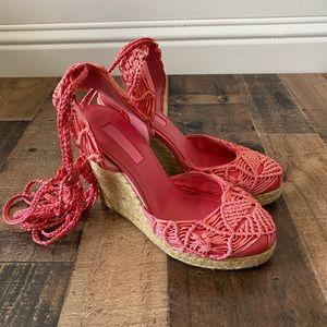 Betsey Johnson 7.5 Espadrille Crochet Ankle Lace